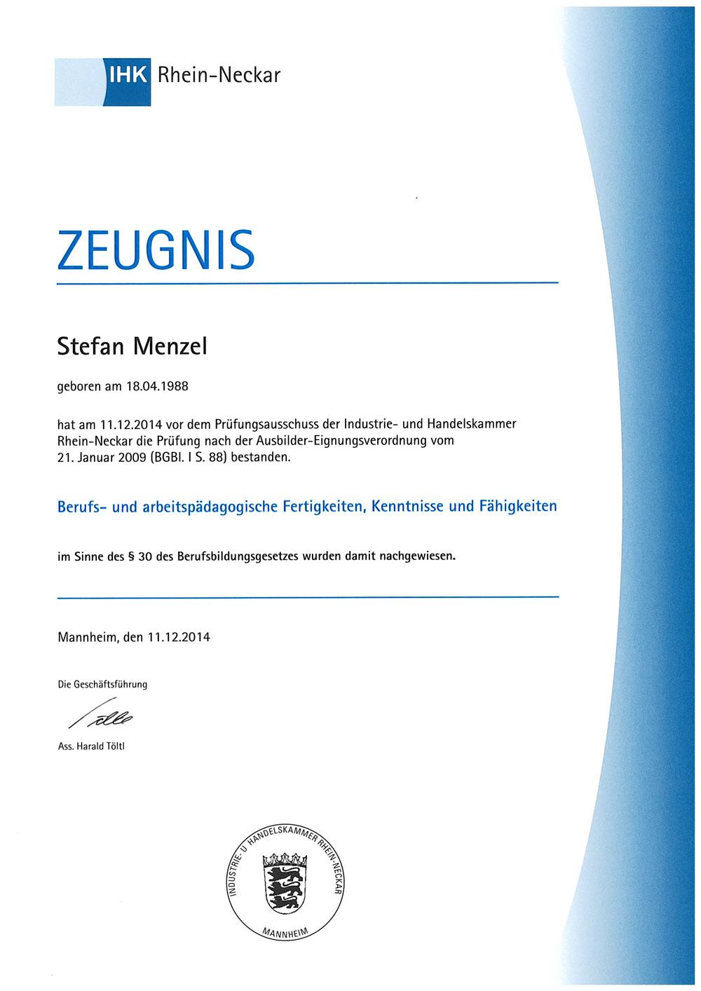 """IHK Zeugnis """"Berufs- und arbeitspädagogische Fertigkeiten"""" Stefan Menzel"""
