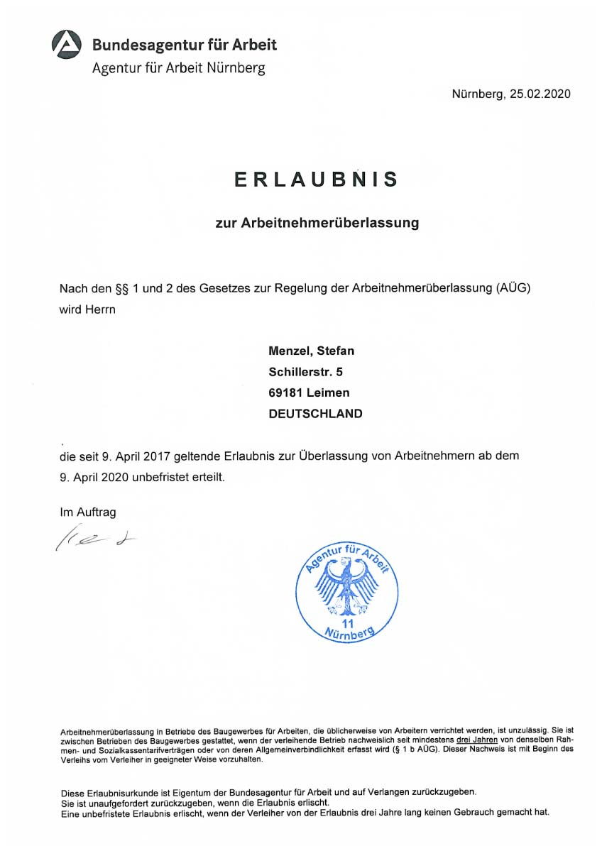 Unbefristete Erlaubnis zur Arbeitnehmerüberlassung der Bundesagentur für Arbeit für Stefan Menzel