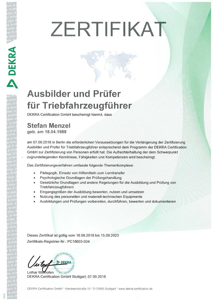 """Dekra Zertifikat """"Ausbilder und Prüfer für Triebfahrzeugführer"""" Stefan Menzel"""